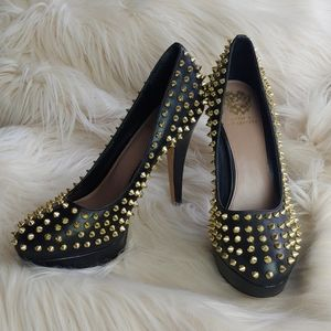 Vince Camuto black high heels with golden spikes